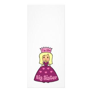 Cartoon Clip Art Cute Big Sister Princess Hearts Customized Rack Card