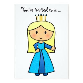 Cartoon Clip Art Cute Blond Princess Bridal Shower 5x7 Paper Invitation Card
