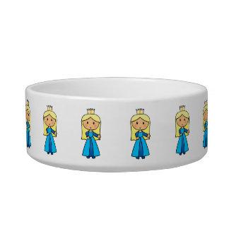 Cartoon Clip Art Cute Blond Princess in Blue Dress Bowl