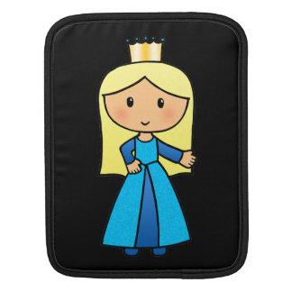 Cartoon Clip Art Cute Blond Princess in Blue Dress iPad Sleeve