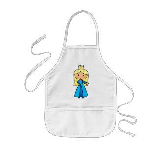 Cartoon Clip Art Cute Blond Princess in Blue Dress Kids' Apron