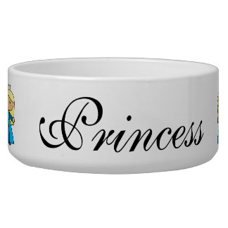Cartoon Clip Art Cute Blond Princess in Blue Dress Dog Food Bowls