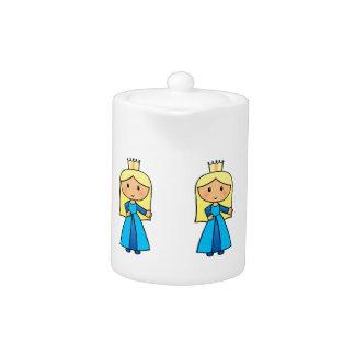 Cartoon Clip Art Cute Blond Princess in Blue Dress Teapot