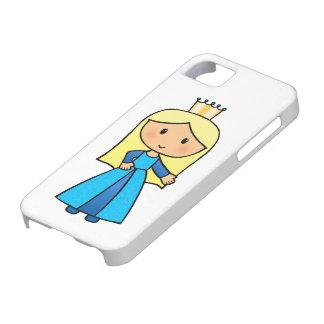 Cartoon Clip Art Cute Blonde Princess in Blue Dres iPhone SE/5/5s Case