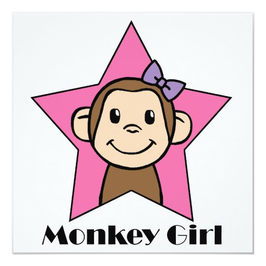 Cartoon Clip Art Cute Monkey Girl Birthday Party Card