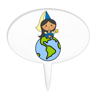 Cartoon Clip Art Cute Princess on Top of the World Cake Toppers