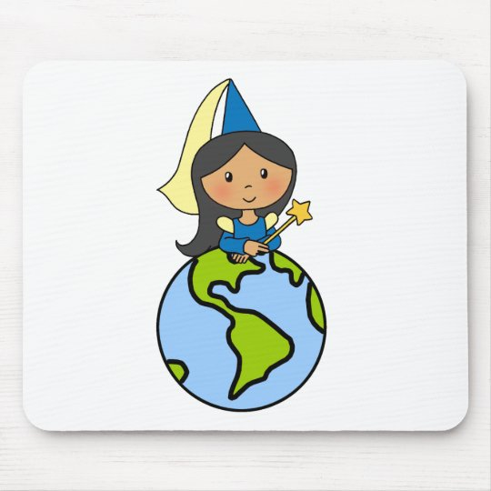 Cartoon Clip Art Cute Princess on Top of the World Mouse Pad