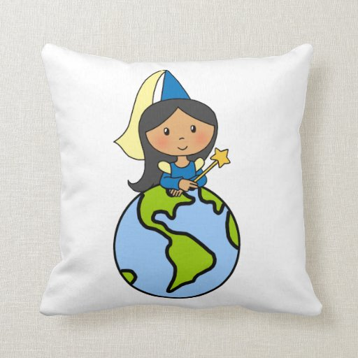 Cartoon Clip Art Cute Princess on Top of the World Throw Pillow Zazzle