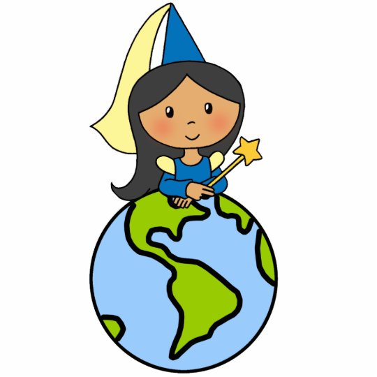 Cartoon Clip Art Cute Princess on Top of the World Statuette