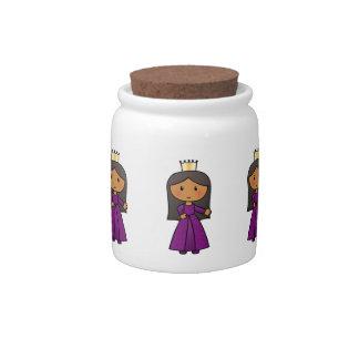 Cartoon Clip Art Cute Princess with Tiara Candy Jar
