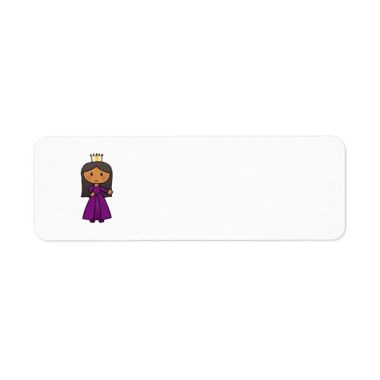 Cartoon Clip Art Cute Princess with Tiara Label