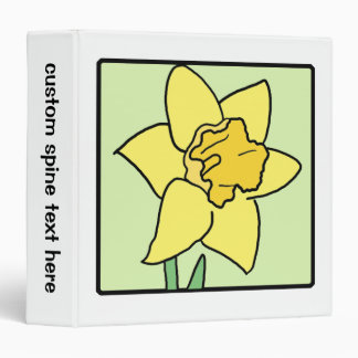 Cartoon Clip Art Daffodil Spring Garden Flower 3 Ring Binder
