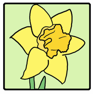 Cartoon Clip Art Daffodil Spring Garden Flower Cutout