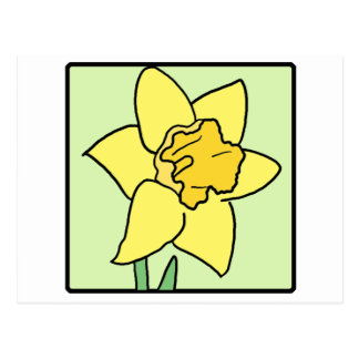 Cartoon Clip Art Daffodil Spring Garden Flower Postcard