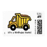 Cartoon Clip Art Dump Truck Birthday Party! Stamp