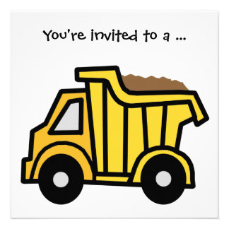 Cartoon Clip Art Dump Truck Boy Birthday Party Personalized Invites