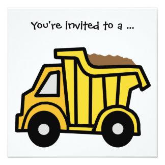 Cartoon Clip Art Dump Truck Boy Birthday Party Invitation