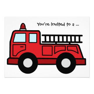 Cartoon Clip Art Firetruck Boy Birthday Party Invitation