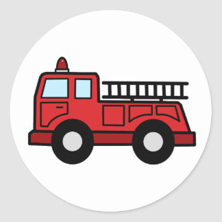 Cartoon Clip Art Firetruck Emergency Vehicle Truck Classic Round Sticker