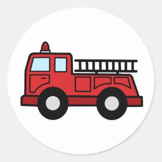 Cartoon Clip Art Firetruck Emergency Vehicle Truck Classic Round Sticker