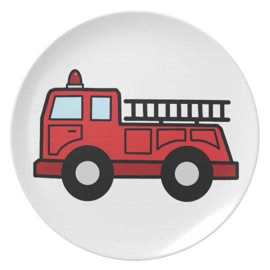 Cartoon Clip Art Firetruck Emergency Vehicle Truck Dinner Plate