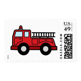 Cartoon Clip Art Firetruck Emergency Vehicle Truck Postage Stamp