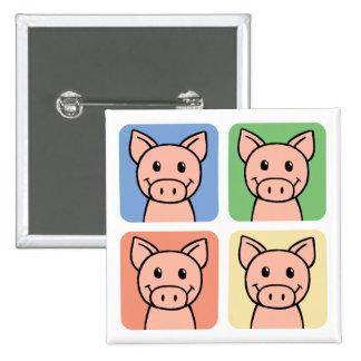 Cartoon Clip Art Laughing Piggie Piggy Pigs! Button