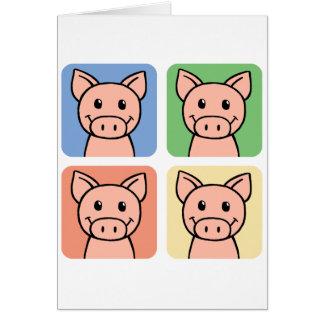Cartoon Clip Art Laughing Piggie Piggy Pigs! Card