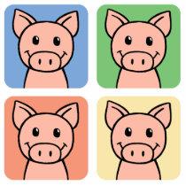 Cartoon Clip Art Laughing Piggie Piggy Pigs! Cutout