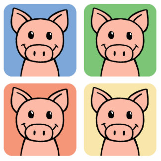 Cartoon Clip Art Laughing Piggie Piggy Pigs! Cutout