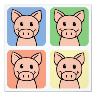 Cartoon Clip Art Laughing Piggie Piggy Pigs! Invitation