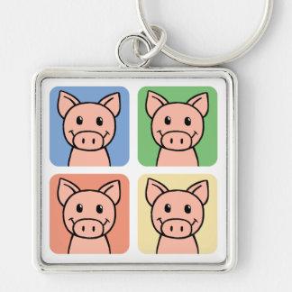 Cartoon Clip Art Laughing Piggie Piggy Pigs! Keychain