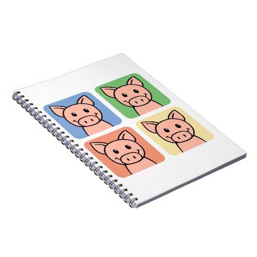 Cartoon Clip Art Laughing Piggie Piggy Pigs! Note Book
