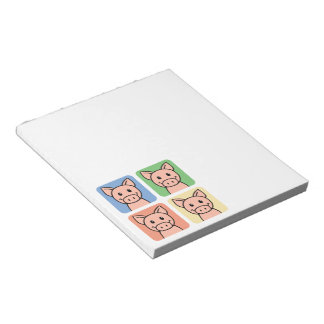 Cartoon Clip Art Laughing Piggie Piggy Pigs! Notepad