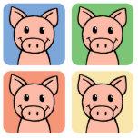 Cartoon Clip Art Laughing Piggie Piggy Pigs! Acrylic Cut Out