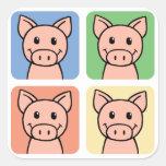 Cartoon Clip Art Laughing Piggie Piggy Pigs! Square Sticker