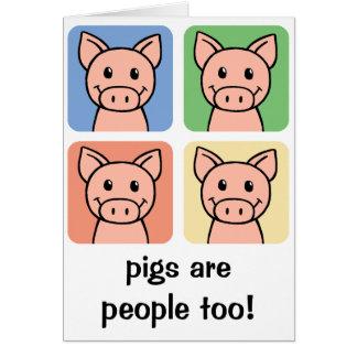 Cartoon Clip Art Pigs are People too! Piggy Piggie Card