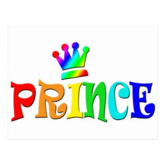 Cartoon Clip Art Rainbow Text, Prince and Crown Postcard