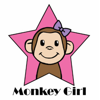 Cartoon Clip Art Smile Monkey Girl Pink Star Bow Cutout