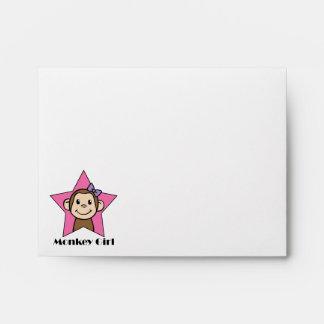 Cartoon Clip Art Smile Monkey Girl Pink Star Bow Envelope