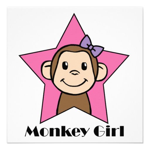 Cartoon clip art smile monkey girl pink star bow personalized