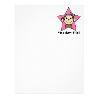 Cartoon Clip Art Smile Monkey Girl Pink Star Bow Letterhead