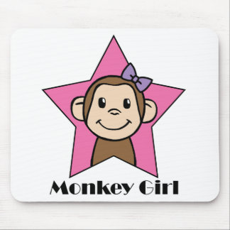 Cartoon Clip Art Smile Monkey Girl Pink Star Bow Mouse Pad
