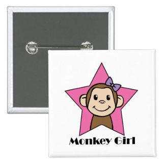 Cartoon Clip Art Smile Monkey Girl Pink Star Bow Pinback Button