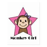 Cartoon Clip Art Smile Monkey Girl Pink Star Bow Postcard