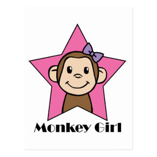 Cartoon Clip Art Smile Monkey Girl Pink Star Bow Post Card