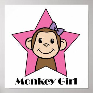 Cartoon Clip Art Smile Monkey Girl Pink Star Bow Poster