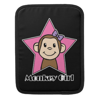 Cartoon Clip Art Smile Monkey Girl Pink Star Bow Sleeves For iPads