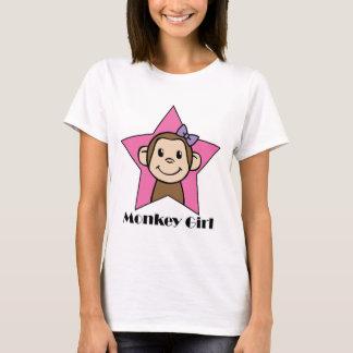Cartoon Clip Art Smile Monkey Girl Pink Star Bow T-Shirt