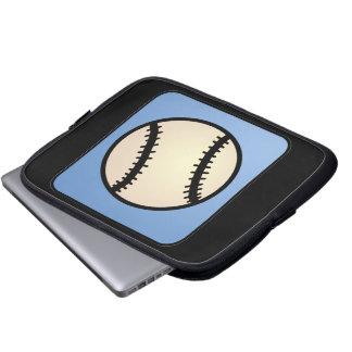 Cartoon Clip Art Sports, Baseball, Blue Background Laptop Sleeves